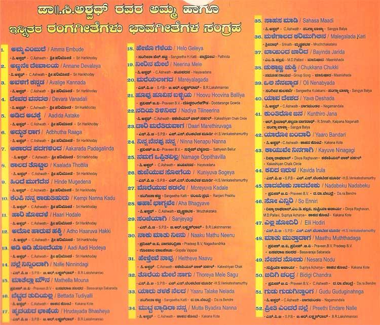Amma (Bhaavageethe) - C. Ashwath + Other Rare Songs MP3 CD