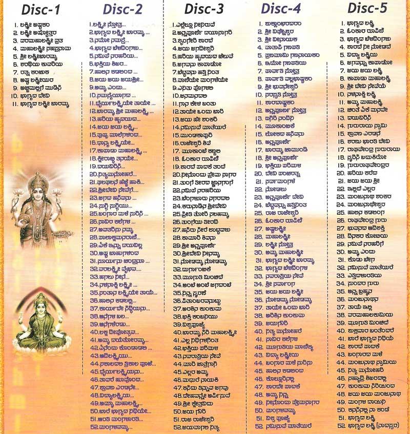 Bhagyalakshmi Devotional Songs 5CD MP3 Set, Kannada Store ...