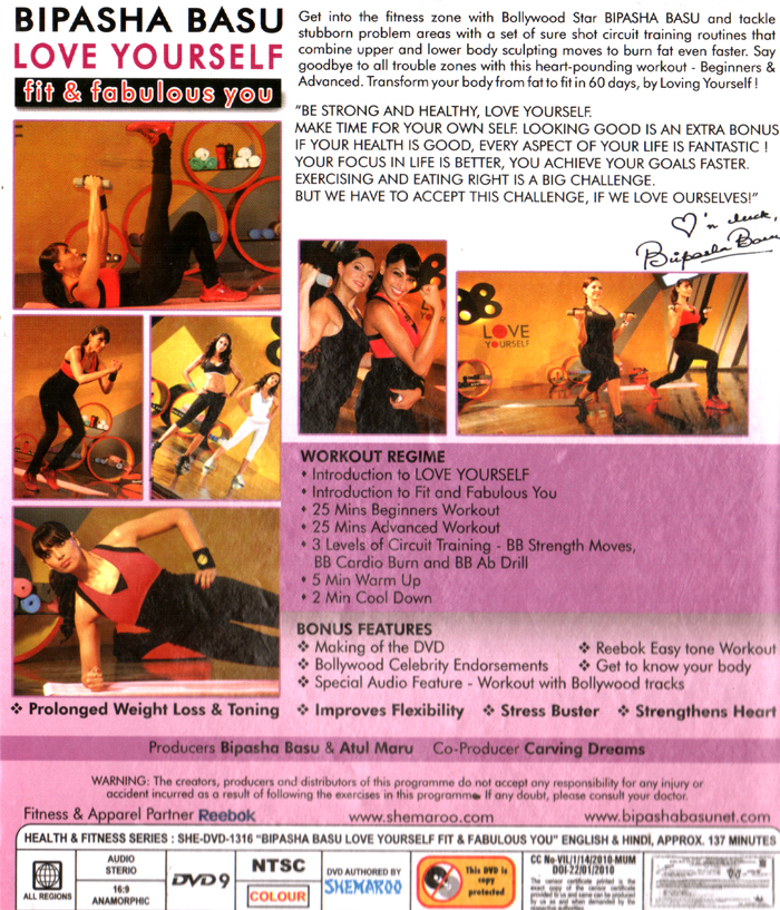 Bipasha Basu - Love Yourself (Fit & Fabulous You) Yoga DVD ...