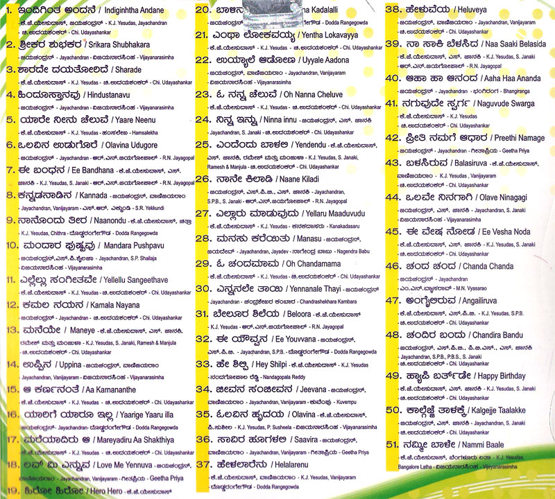 Duets Of Kj Yesudas Jayachandran Songs Collections Mp3 Cd Kannada Store Mp3 Collections Buy Dvd Vcd Blu Ray Audio Cd Mp3 Cd Books Free Shipping Hindi lyrics > yesudas songs. kannada store