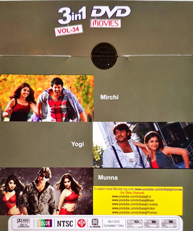 Munna - Yogi - Mirchi (Prabhas Hit Movies) Combo DVD, Kannada Store