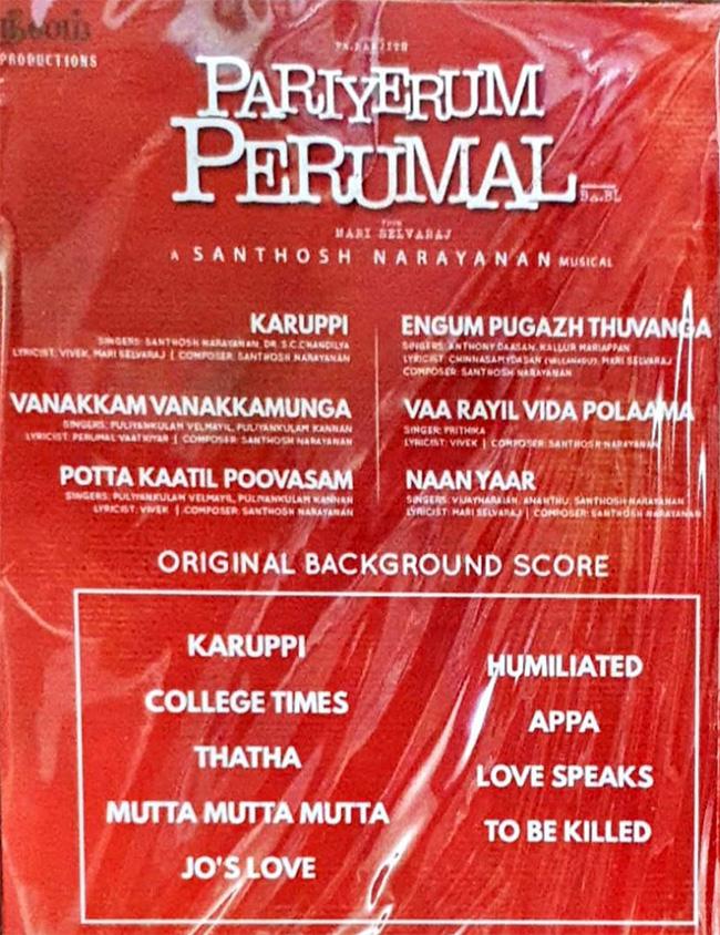 pariyerum perumal 2018 audio cd kannada store tamil