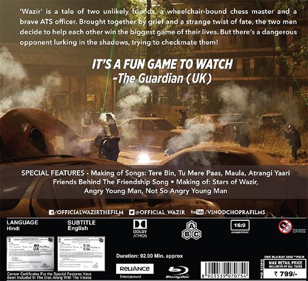 Wazir - 2016 (Hindi Blu-ray), Kannada Store Hindi Blu-ray